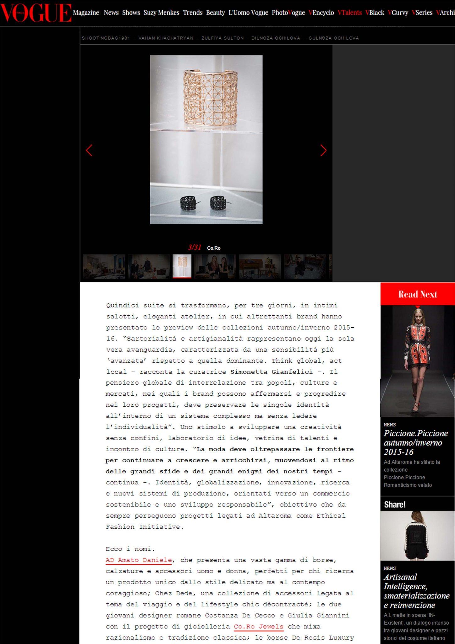 Vogue Italia | Co.Ro. Jewels