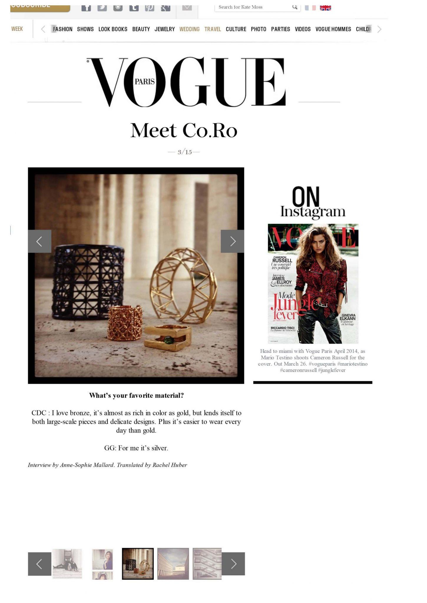 Vogue Paris | Co.Ro. Jewels