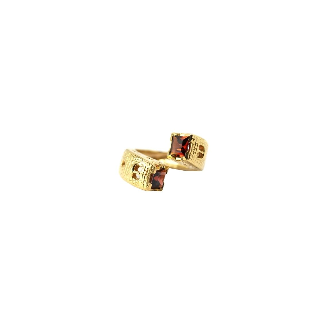 Gothic Towers Ring Gold Plated Silver and Red Garnets