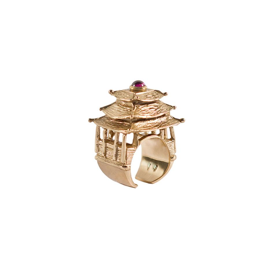 pagoda-anello-dettaglio-oro-tormalina-rossa