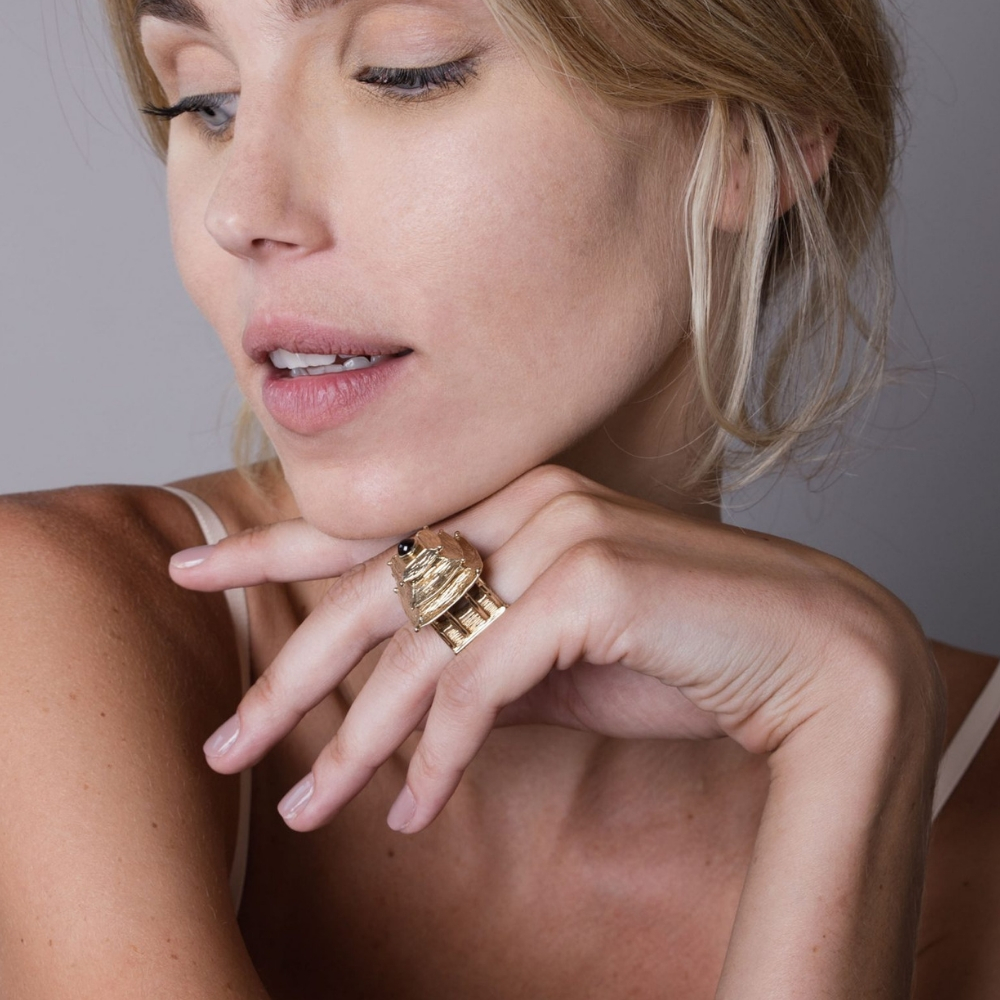 Pagoda Ring Gold Plated Bronze