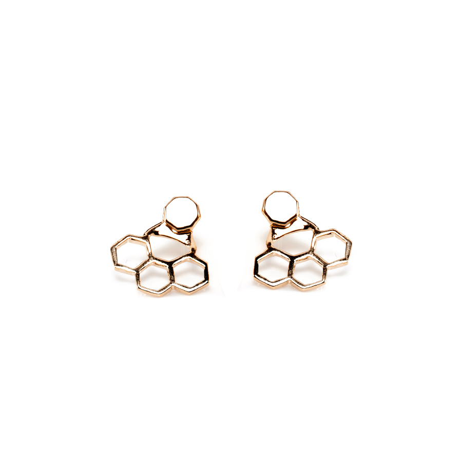 Esagonini Gold Earrings | Hexagons Collection by Co.Ro. Jewels