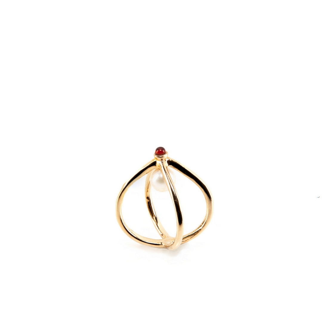 Wire Ring Gold Plated Bronze and Pearl | Crafted with love by Co.Ro ...