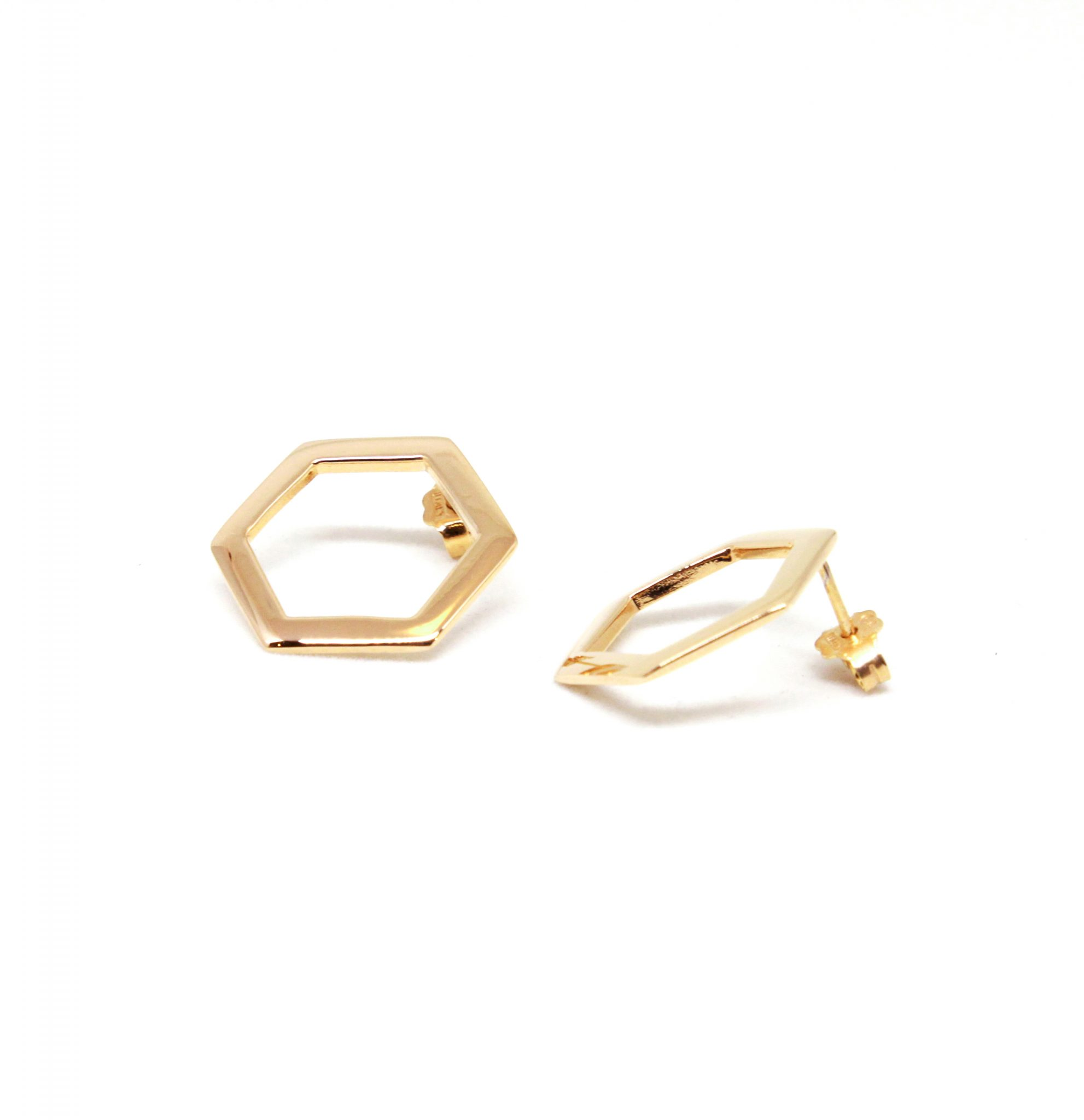 hexagon stud earrings silver studs