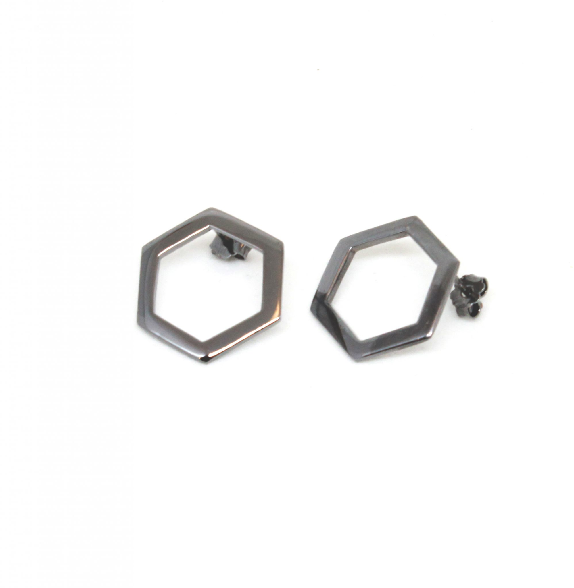 crafted by co jewelry hexagons love bronze with plated hexagon earrings ruthenium ru