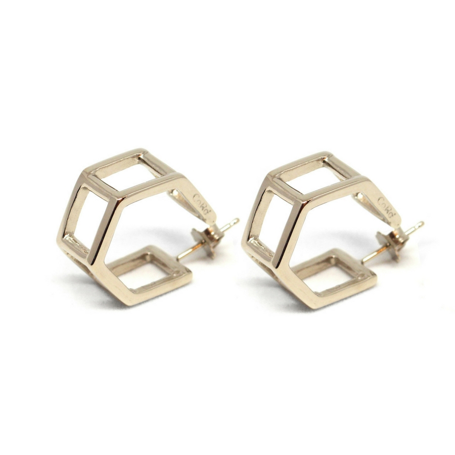 Double Hexagons Earrings Gold (Catalogue)