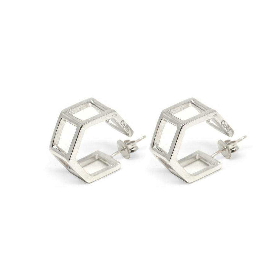 Double Hexagons Silver Earrings (Catalogue)