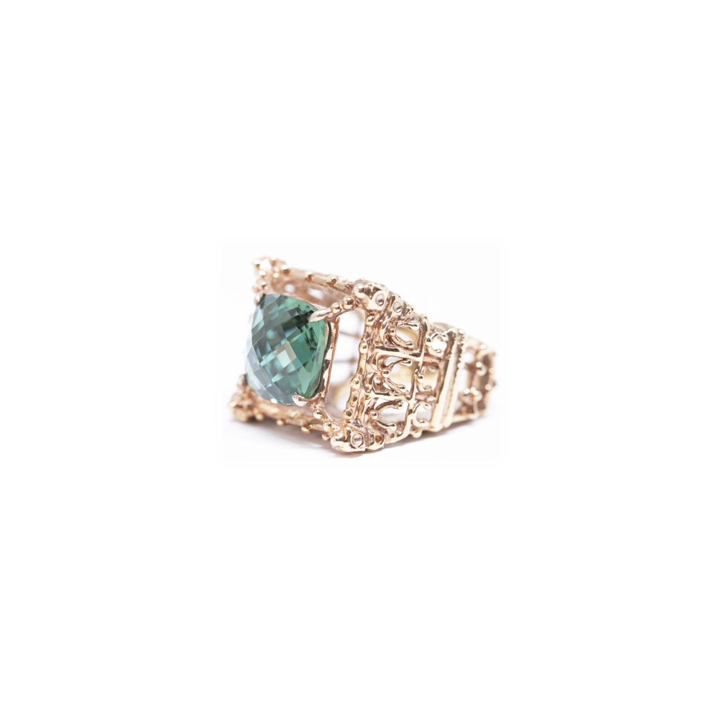 Notre Dame Ring Rose Gold Plated Bronze with Green Hydrothermal Quartz