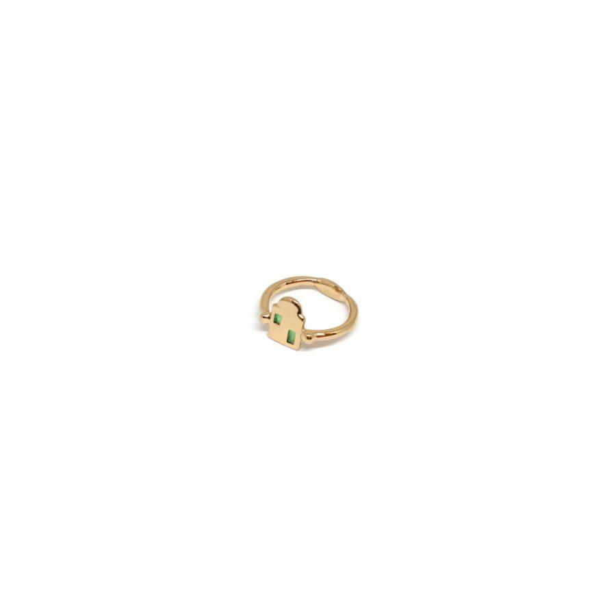 Ponza Ring Gold Green Enamel