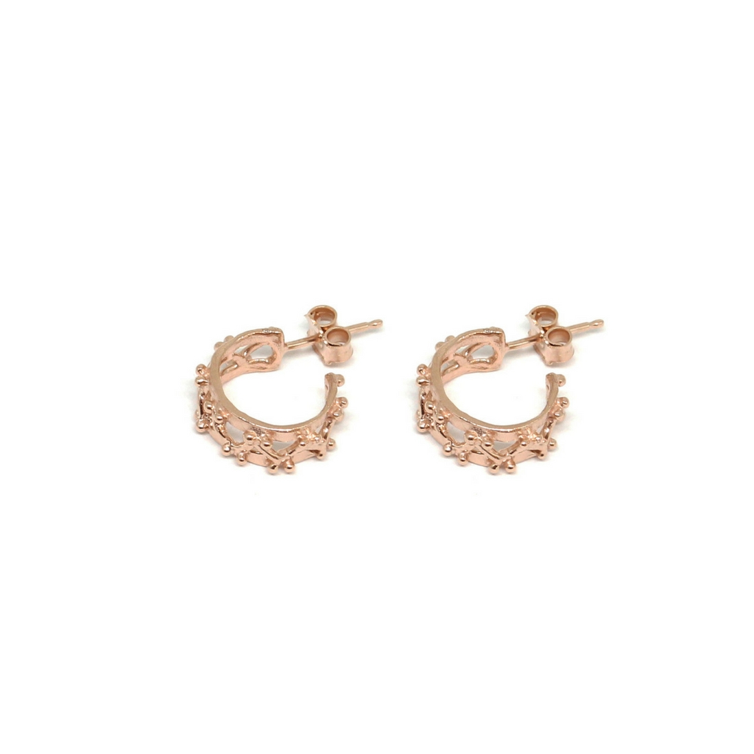 Little Beams Hoop Earrings Rose Gold Plated Bronze Crafted With Love By Co Ro Jewels Now