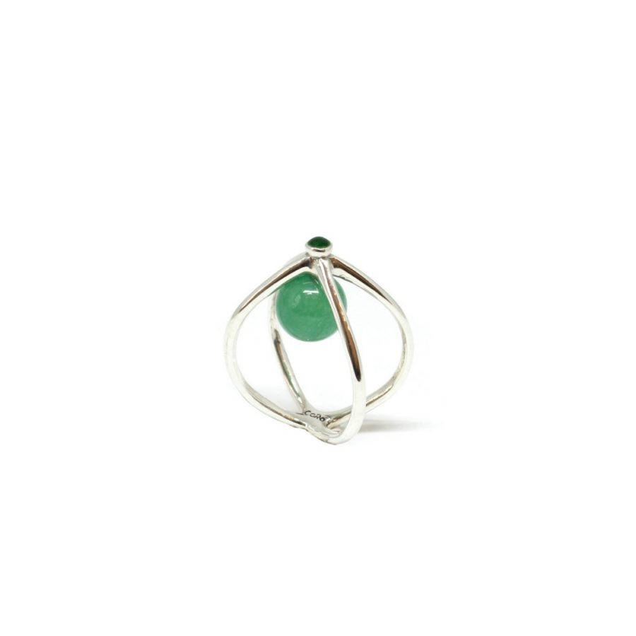 wire silver jade ring 1
