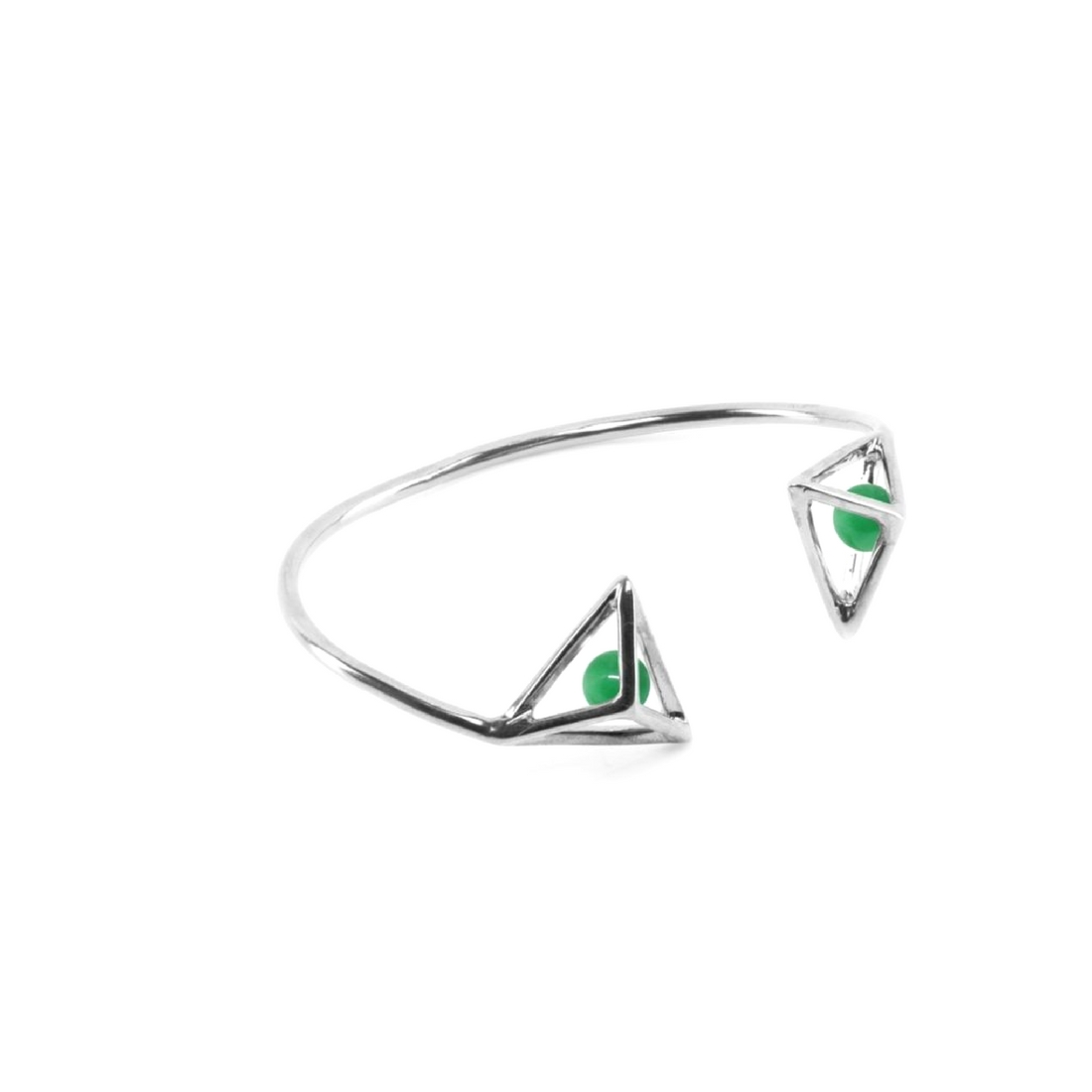 Double Wire Bracelet Silver Sterling and Green Jades | Crafted with ...