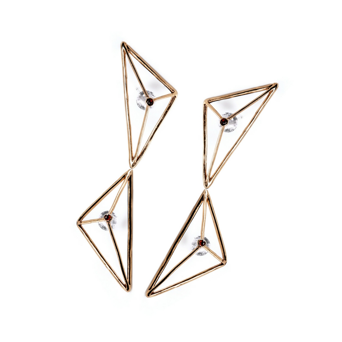 Double Prismatic Wire Earrings Gold Plated Bronze and Crystal Rocks ...