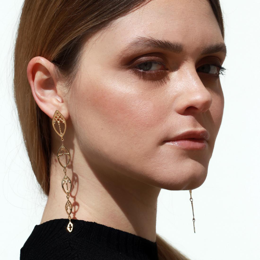 Venetian Windows Earrings Rose Gold Plated Silver