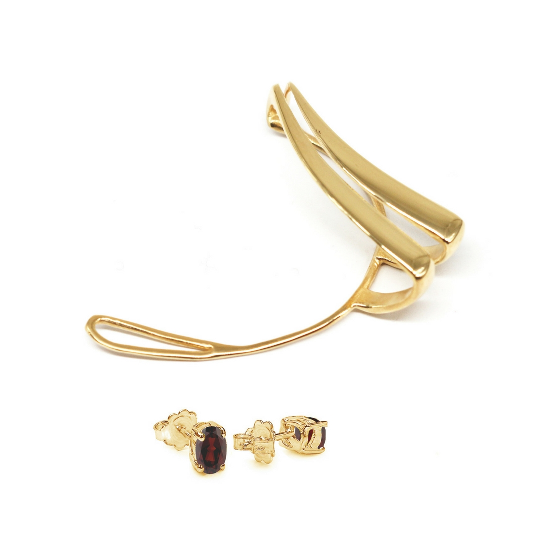 60586abce577d8 Routes Ear Cuff Gold Plated Bronze with Garnet | Crafted with love by  Co.Ro. Jewels | Shop Now!