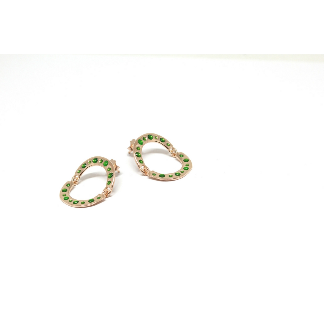 Turn Around Earrings Rose Gold and Green Enamels Crafted with love
