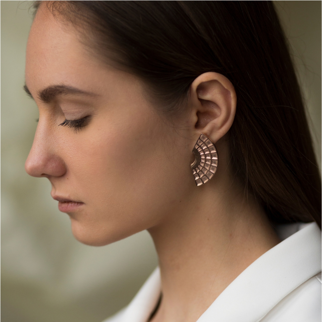 Pantheon Earrings Rose Gold-Plated Silver