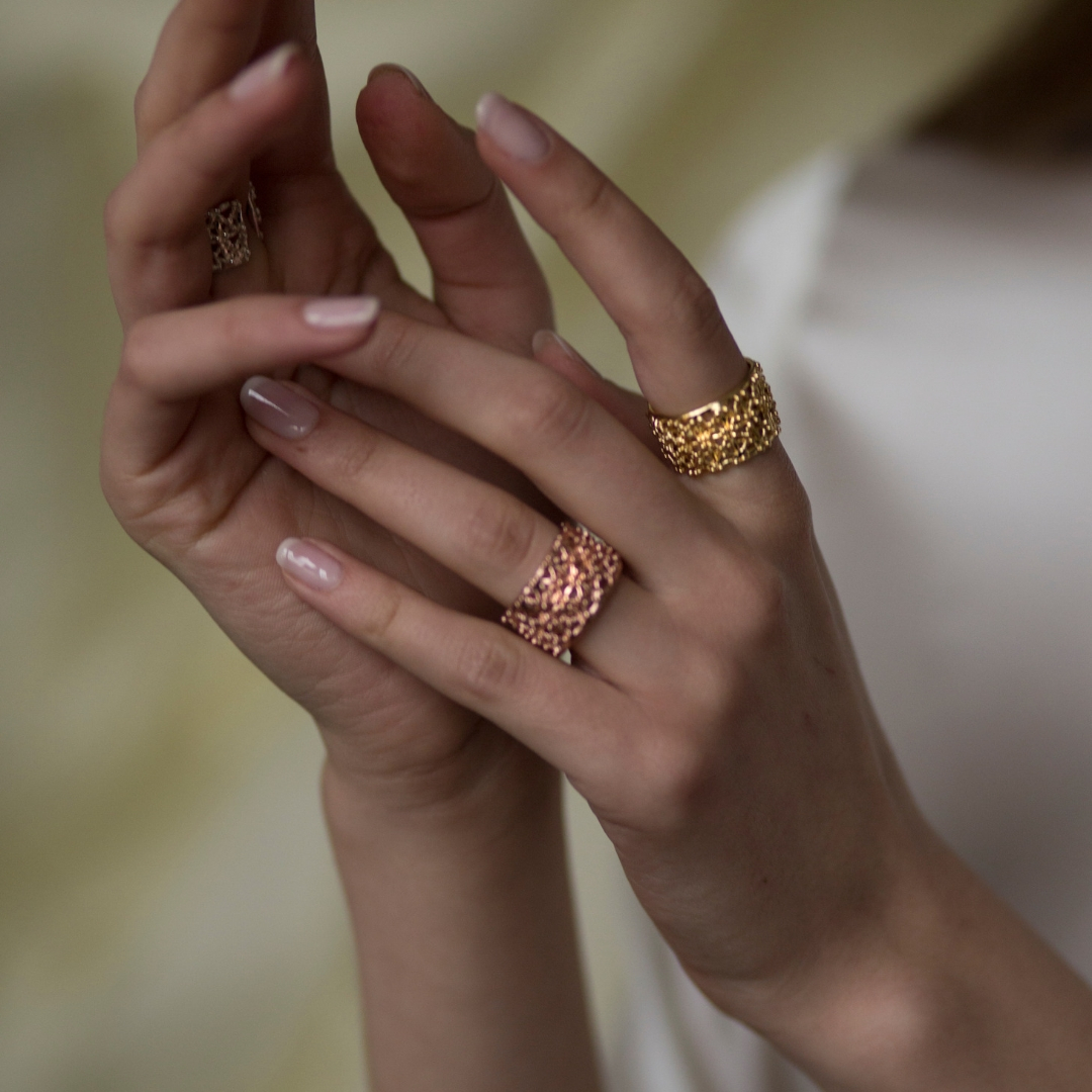 Gasometro Low Ring Gold Plated Bronze