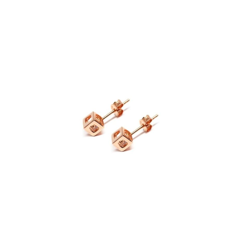 q.bo. earrings rose gold plated bronze pure geometry Co.Ro. Jewels