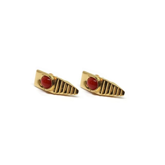 Villa Malaparte Earrings 925 Gold Plated Silver and Corals