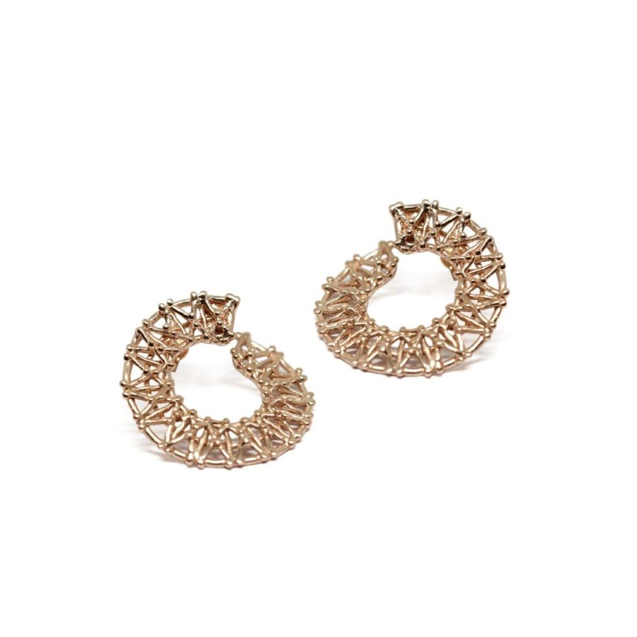 Gasometer Hoop Earrings Gold Plated Silver