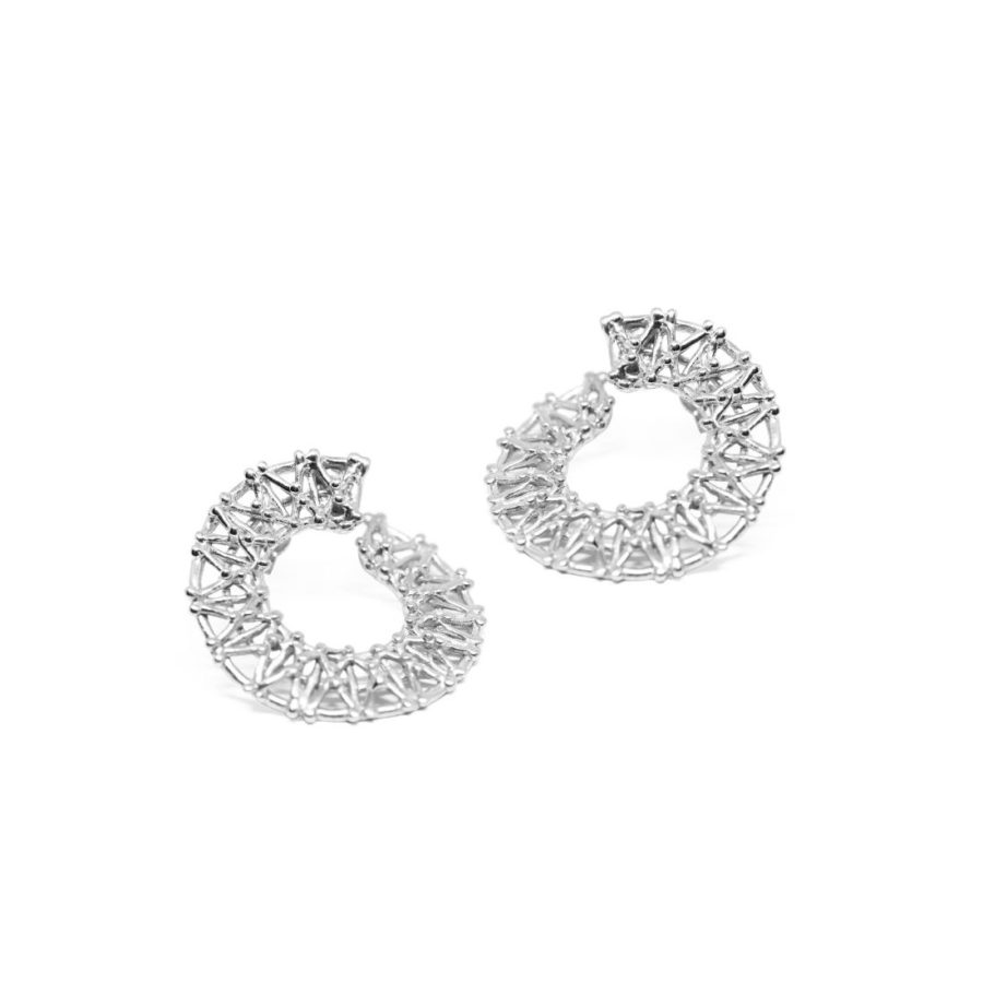 Gasometer Hoop Earrings Silver Rome