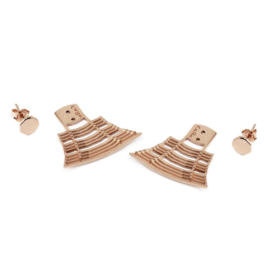 Spanish Steps Ear Jacket Rose Gold Plated Silver