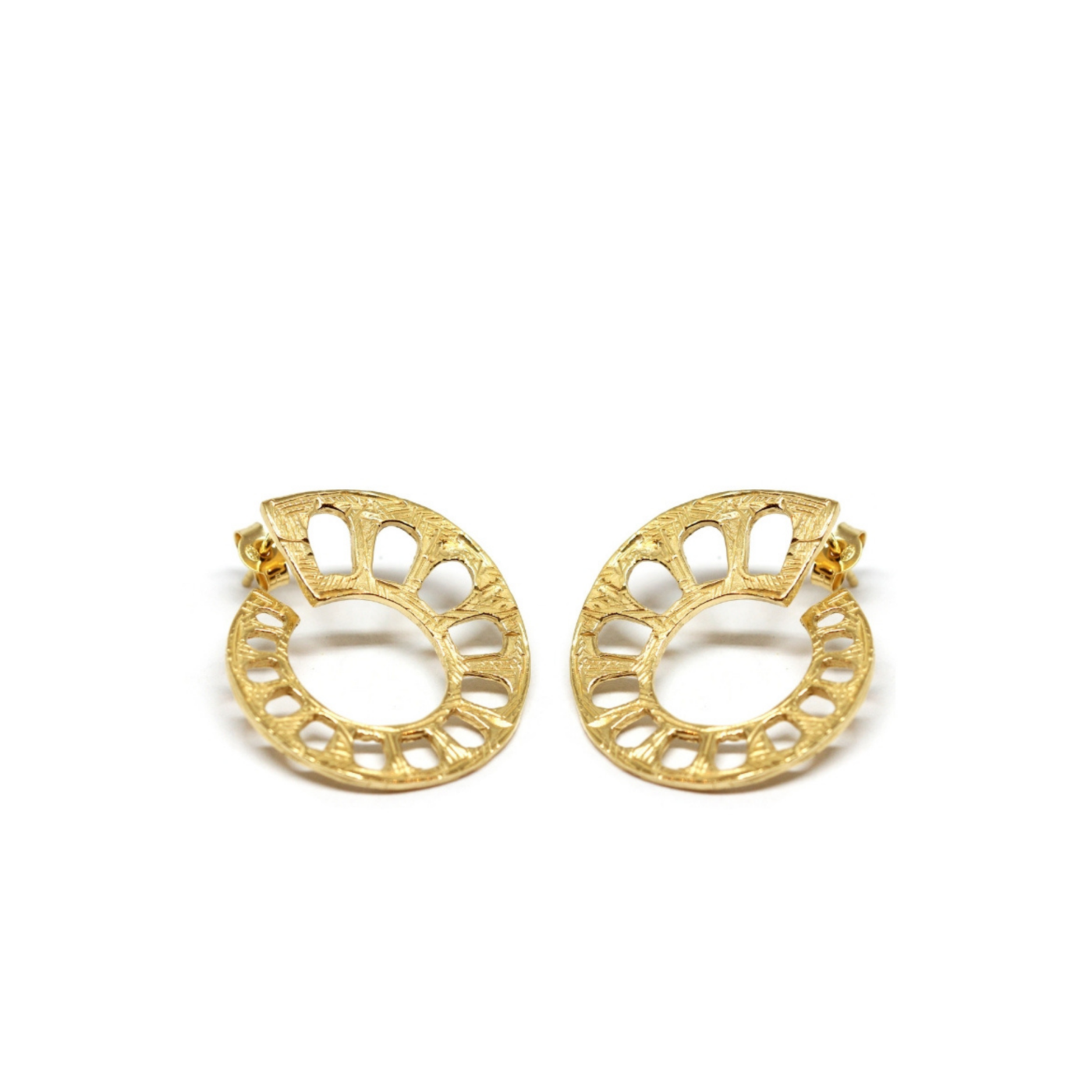 Aqueduct Earrings Gold Plated Silver