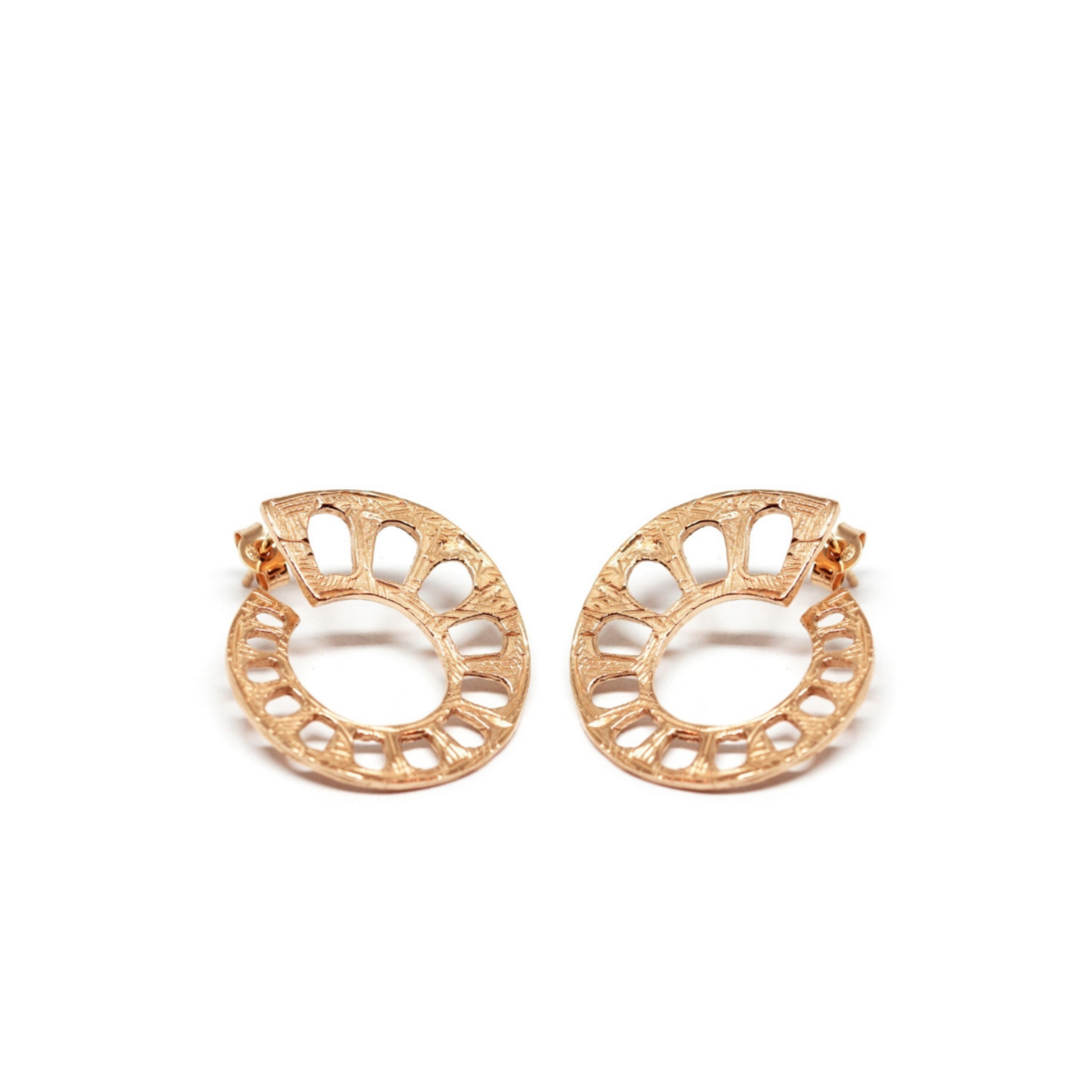 Aqueduct Earrings Rose Gold Plated Silver
