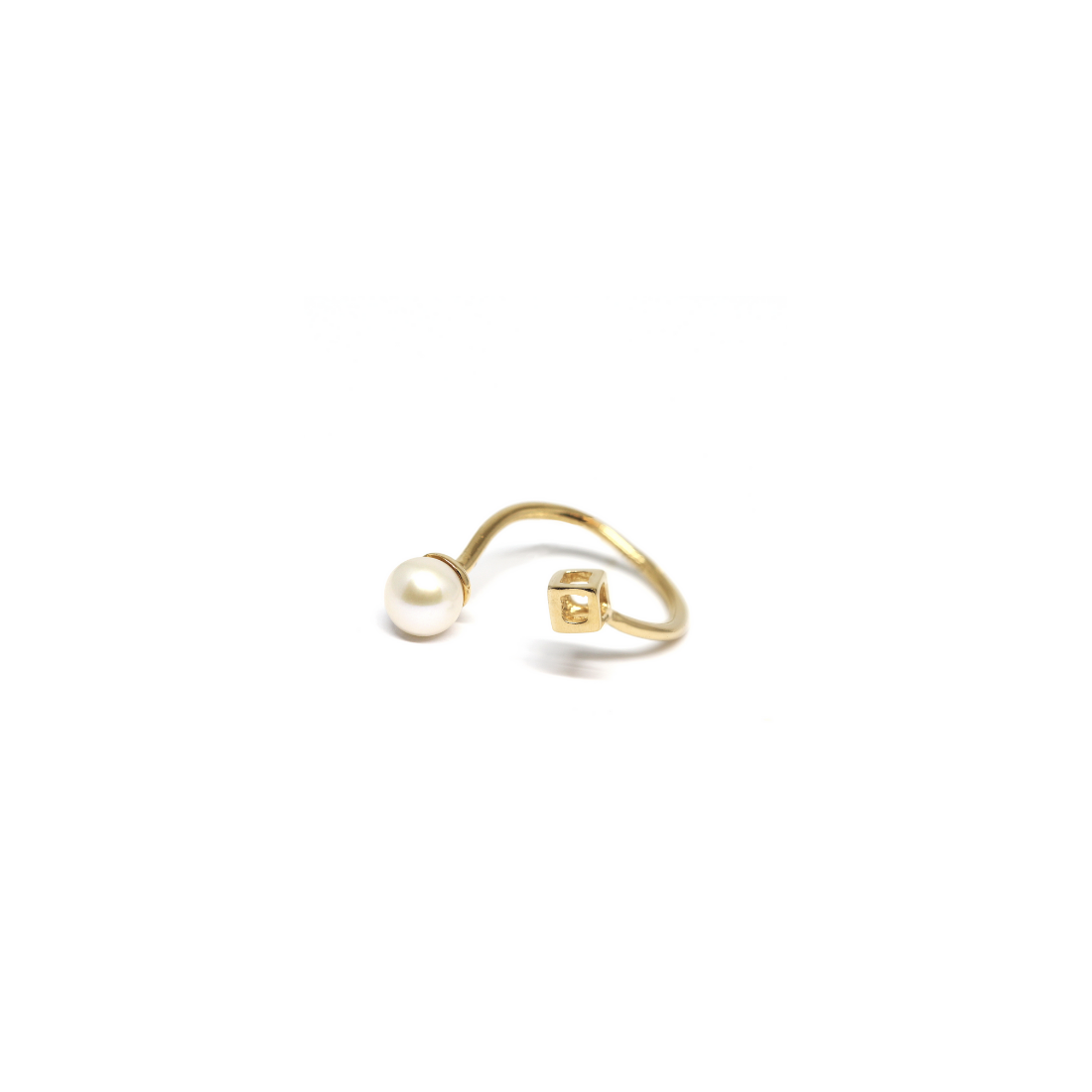 Livresse Cube Ring 925 Gold Plated Sterling Silver