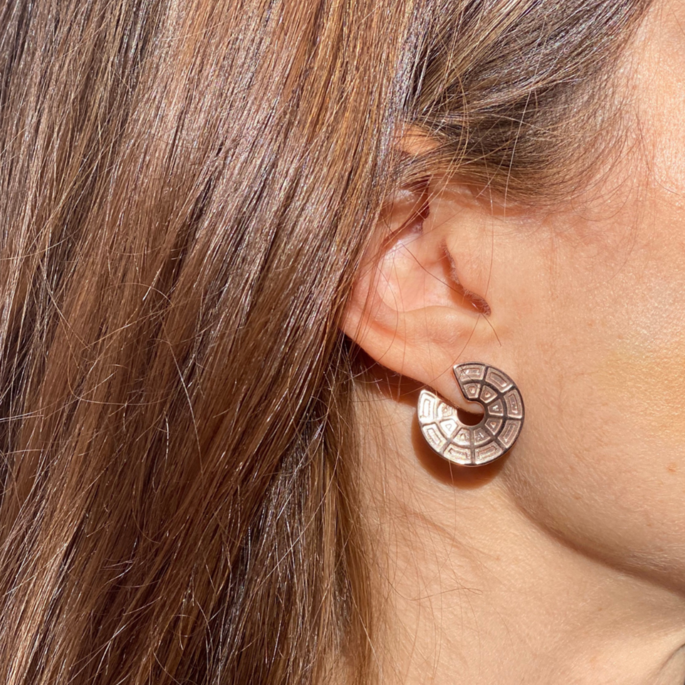 Pantheon Dome Earrings Rose Gold Plated Sterling Silver