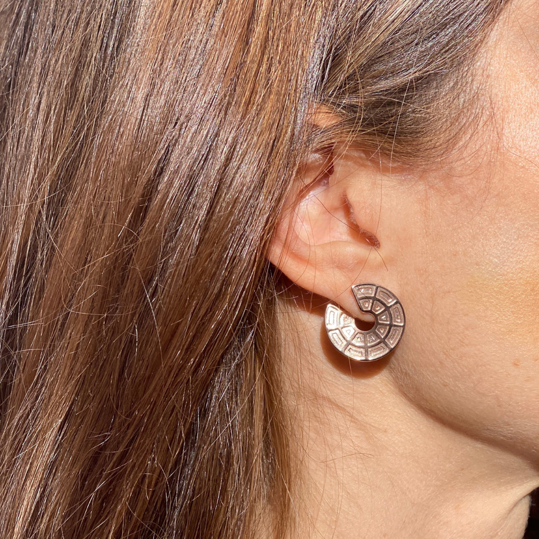 Pantheon Dome Earrings Gold Plated Sterling Silver
