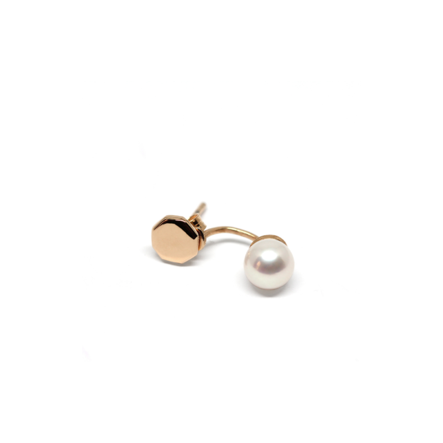 Pearl Stud Piercing Rose Gold Plated Silver