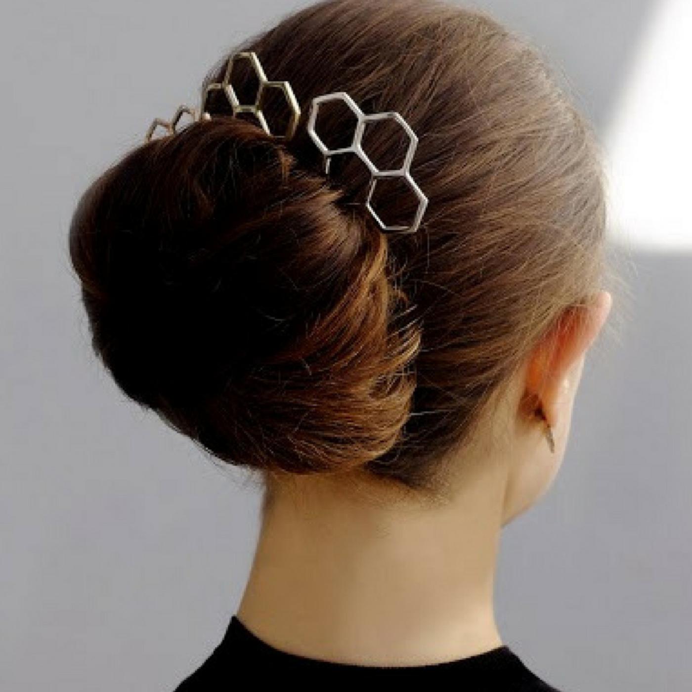 Hexagon Hairpin Gold Plated Bronze
