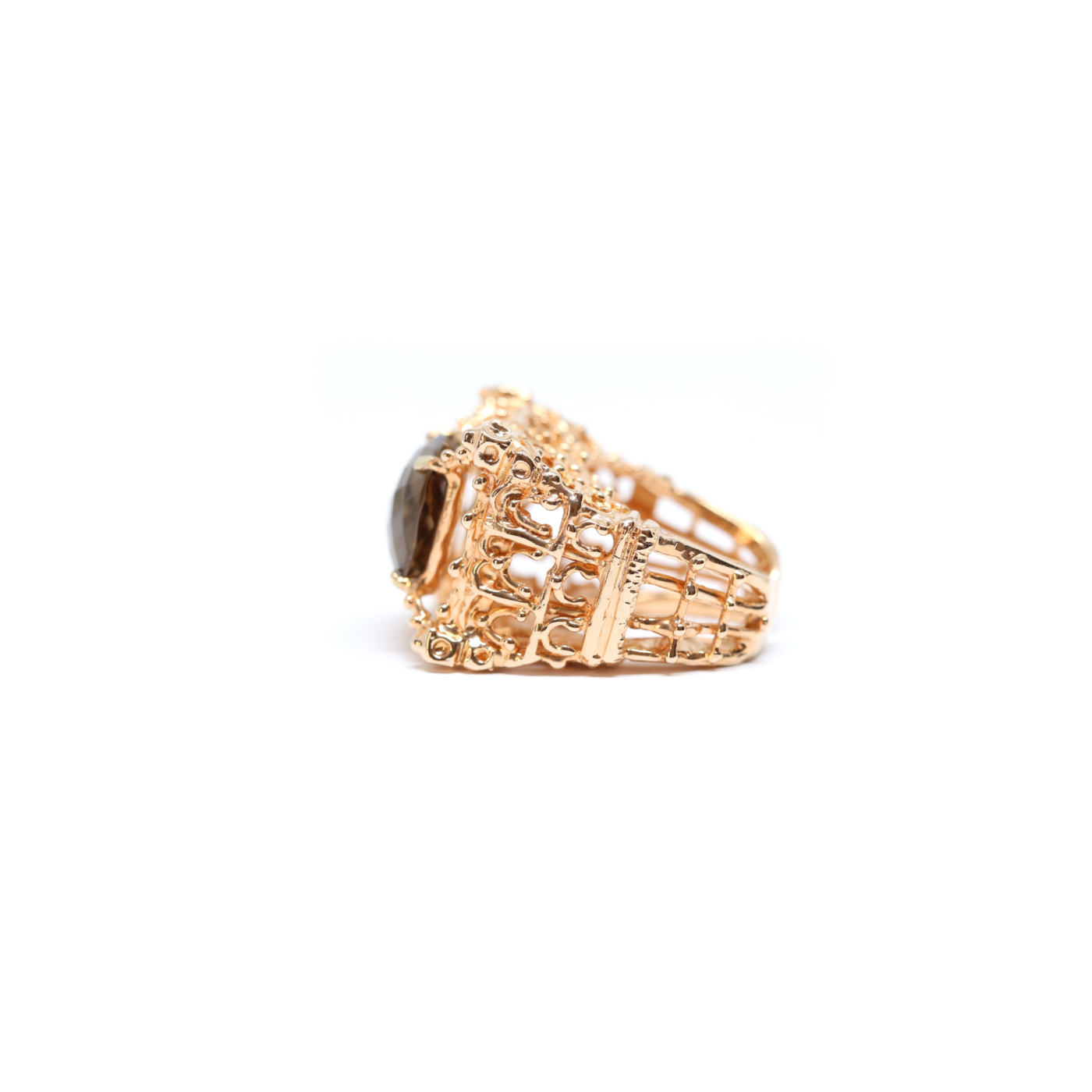 Notre Dame Ring Rose Gold Plated Bronze with Hydrothermal Smoky Quartz